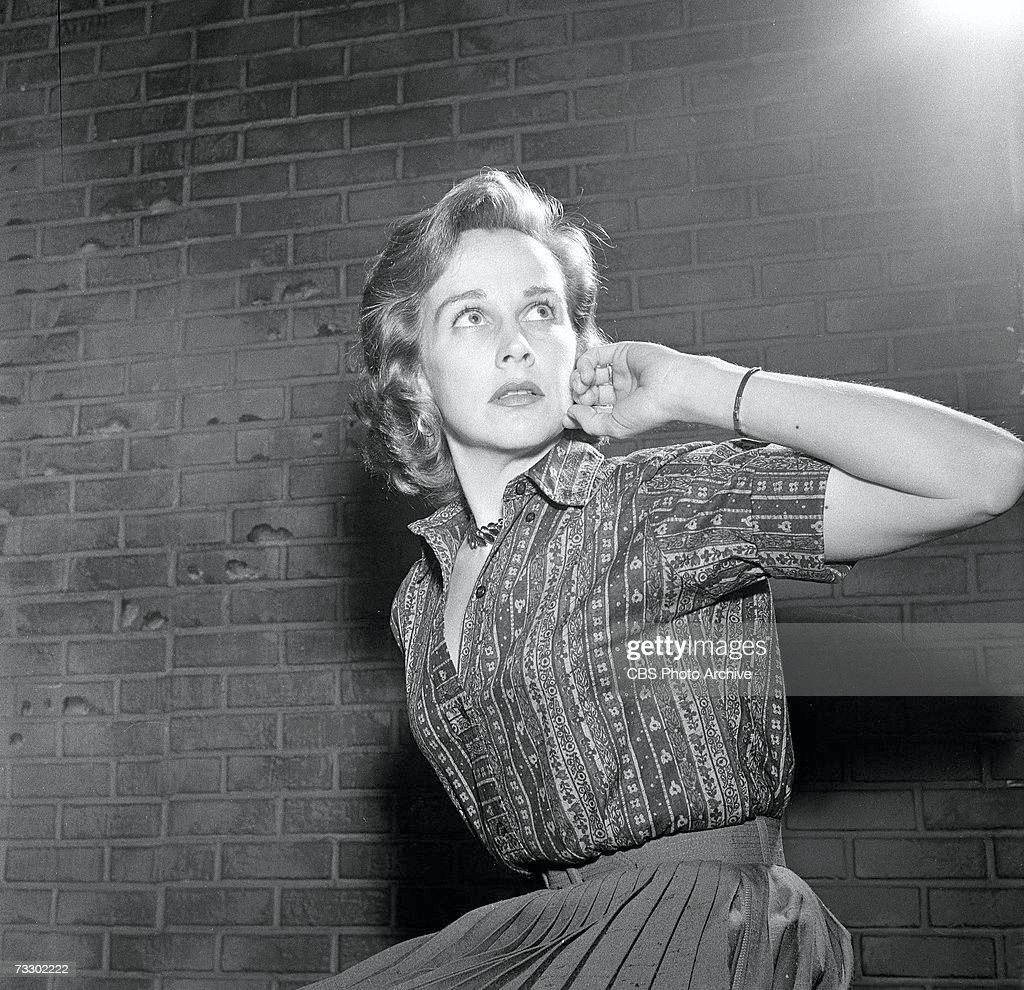 American actress Kim Hunter (1922 - 2002) (born Janet Cole) fearfully glaces upward in the CBS television Playhouse 90 production of 'Alas, Babylon,' March 18, 1960.