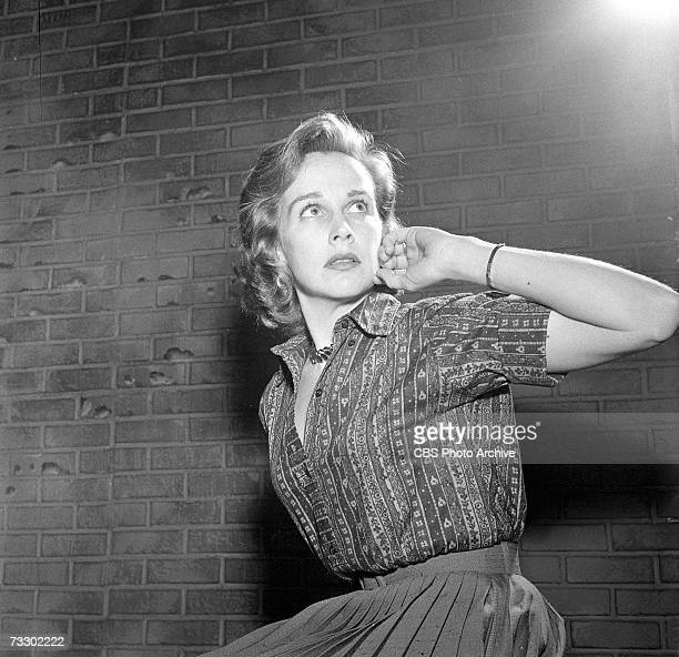 American actress Kim Hunter fearfully glaces upward in the CBS television Playhouse 90 production of 'Alas Babylon' March 18 1960