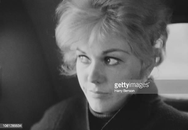 American actress Kim Novak pictured in a car in London on 6th April 1963