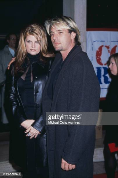 American actress Kirstie Alley and American actor James Wilder attend the premiere of 'Deconstructing Harry' held at the Cineplex Odeon Century Plaza...