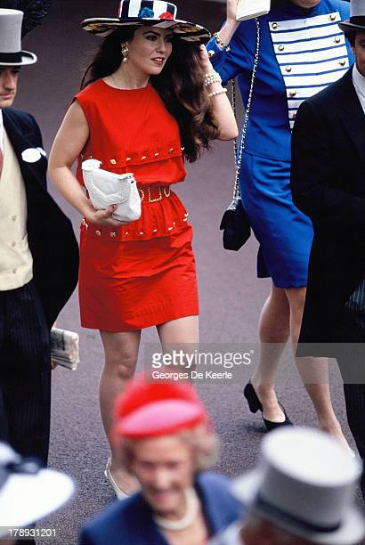 American actress Koo Stark attends the second day of Royal Ascot on June 20 1990 in Ascot England