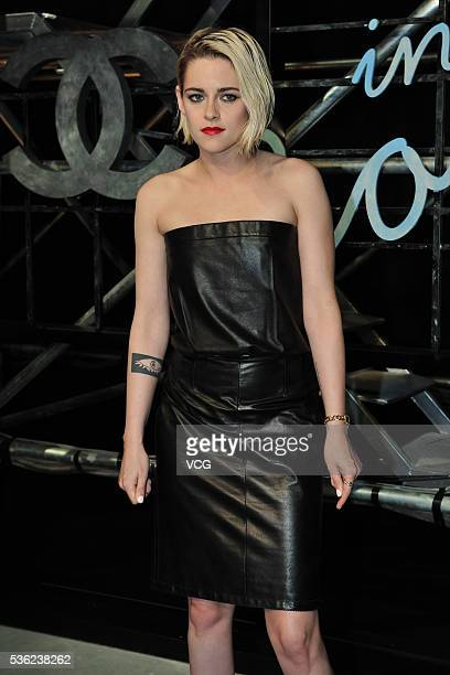 American actress Kristen Stewart arrives at the red carpet of a press conference of Chanel's 'Paris in Rome 2015/16' Metiers d'Art Show on May 31...