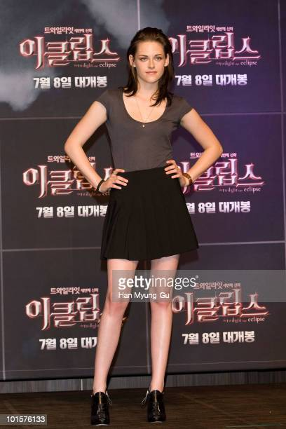 American actress Kristen Stewart attends the Twilight Saga Eclipse press conference at Shilla Hotel on June 3 2010 in Seoul South Korea