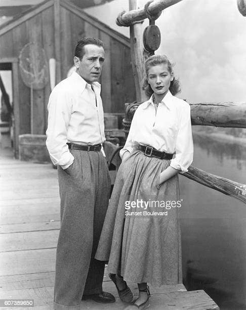 American actress Lauren Bacall and her husband actor Humphrey Bogart on the set of Key Largo, directed by John Huston.