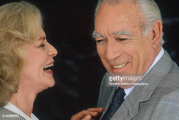 American actress Lauren Bacall and Mexicanborn actor Anthony Quinn star in the 1991 French film A Star for Two The film is directed by Jim Kaufman