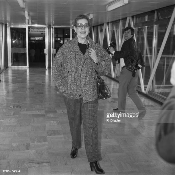 American actress Lauren Bacall at Heathrow Airport in London England 10th March 1985