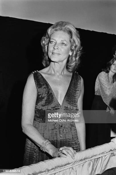 American actress Lauren Bacall at the 51st Academy Awards at the Dorothy Chandler Pavilion in Los Angeles, 9th April 1979. She is presenting the...