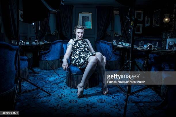 American actress Lena Dunham is photographed for Paris Match at Laduree Bonaparte Tearoom on January 17 2014 in Paris France
