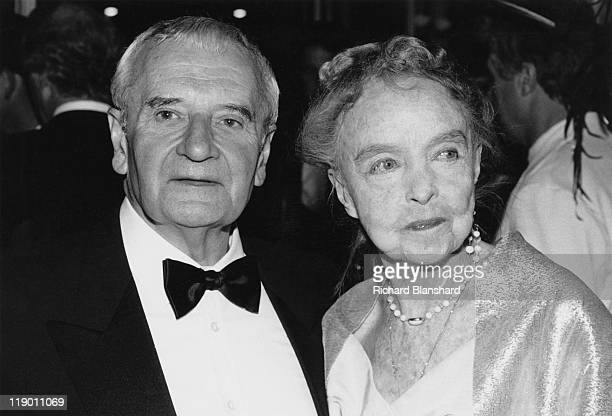 American actress Lillian Gish with English director Lindsay Anderson at the Cannes Film Festival in France May 1987 They had just collaborated on the...
