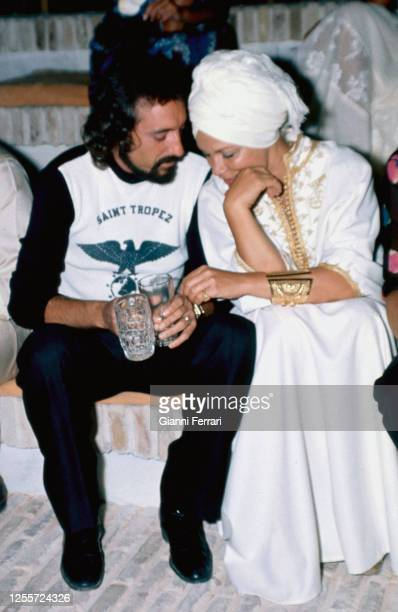 "American actress Linda Christian at a party in the resort ""Marbella Club"" with Antonio Arribas, Marbella, Malaga, Spain, 1975."