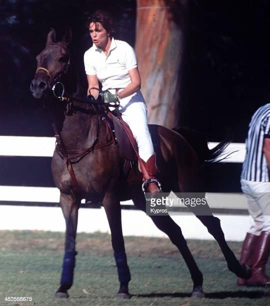 American actress Linda Gray on horseback circa 1988