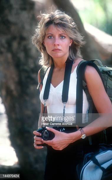 American actress Linda Kozlowski on the set of her new film 'Crocodile Dundee' in 1986 on location in the Northern Territory, Australia.