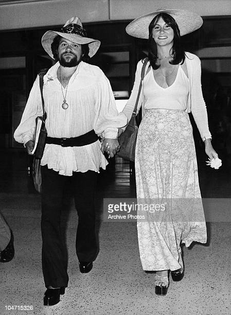 American actress Linda Lovelace arrives at Heathrow Airport with her boyfriend producer David Winter 22nd May 1974 Lovelace starred in a number of...