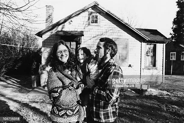 American actress Linda Lovelace with her husband Larry Marchiano and their son Dominic outside their Long Island home, 1980. Lovelace starred in a...