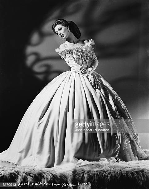 American actress Loretta Young in period dress for her role as Lina Varsavina in 'The Men in her Life' directed by Gregory Ratoff for Columbia...