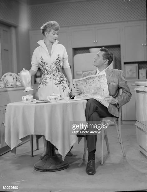 American actress Lucille Ball and her husband Cuban actor Desi Arnaz appear in an episode of 'I Love Lucy' Los Angeles California October 22 1953 The...