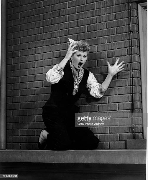 American actress Lucille Ball appears as Lucy Ricardo in an episode of 'I Love Lucy,' Los Angeles, California, mid-1950s.