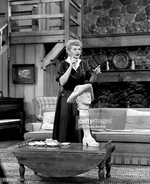 American actress Lucille Ball appears in a scene from 'The Ricardos Dedicate Statue' the last filmed episode of the television comedy show 'I Love...