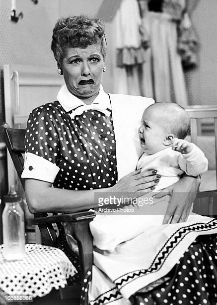 American actress Lucille Ball finds motherhood overwhelming in 'No Children Allowed' an episode of the television show 'I Love Lucy' 1953 The episode...