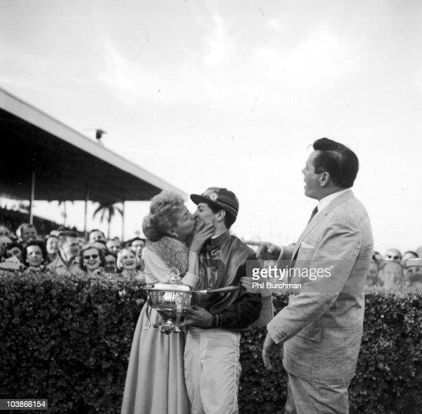 American Actress Lucille Ball Kisses The Winning Jockey At