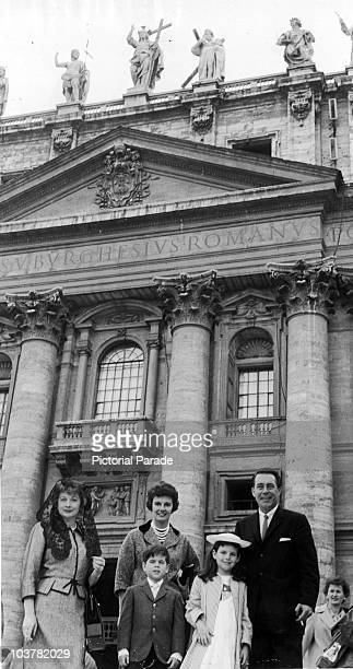 American actress Lucille Ball with her cousin Cleo Morgan Cleo's husband Ken and Lucille's children Lucie and Desi Jr outside St Peter's Basilica...