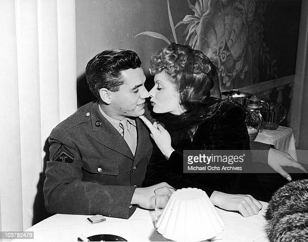 American actress Lucille Ball with her husband Desi Arnaz circa 1944 Desi is wearing the sleeve insignia of a Technician Fifth Grade of the US Army...