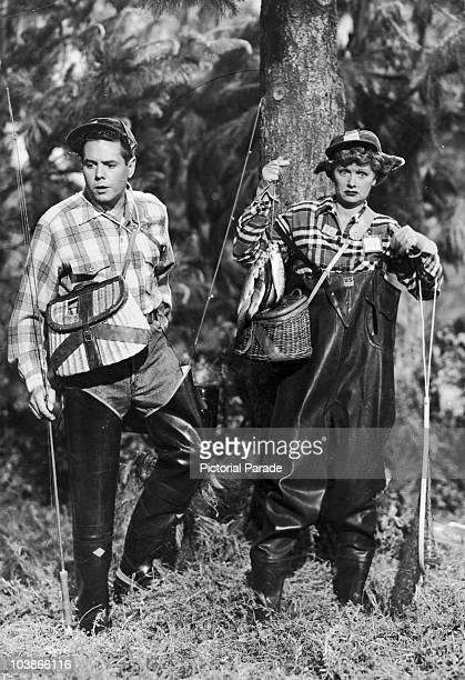 American actress Lucille Ball with her husband Desi Arnaz in 'The Camping Trip' an episode of the television show 'I Love Lucy' 1953 It first aired...