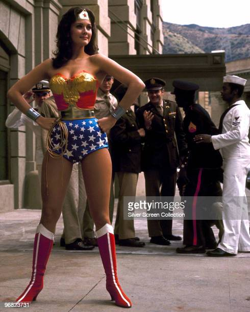 American actress Lynda Carter stars as the titular superhero in the television series 'Wonder Woman' circa 1975