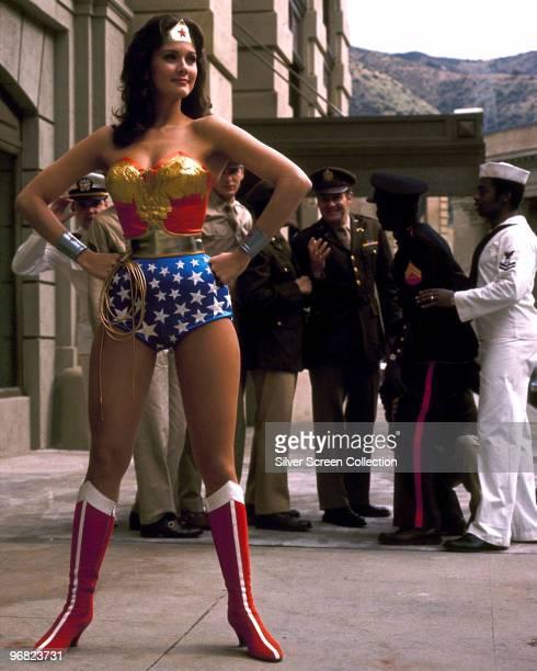 American actress Lynda Carter stars as the titular superhero in the television series 'Wonder Woman', circa 1975.