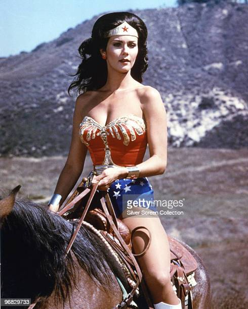American actress Lynda Carter stars as the titular superhero in the television series 'Wonder Woman', circa 1975.