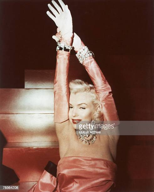 American actress Marilyn Monroe , as Lorelei Lee, performing a song in a scene from 'Gentlemen Prefer Blondes', directed by Howard Hawks, 1953.