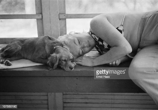 American actress Marilyn Monroe cuddles up to a small dog during the location shoot of 'The Misfits' in the Nevada Desert 1960