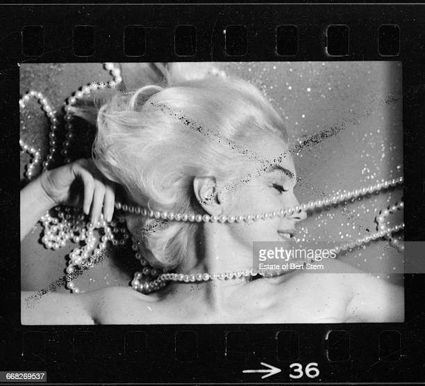 American actress Marilyn Monroe draped in pearls Beverly Hills California June 1962 The two sessions for the photoshoot took place in late June and...