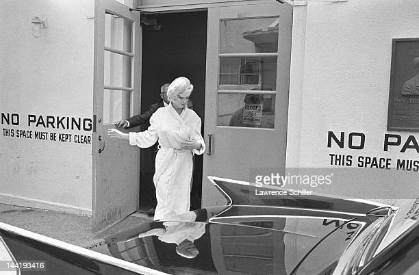 APPLY American actress Marilyn Monroe leaves her dressing room during the filming of 'Something's Got to Give' Los Angeles California May 23 1962