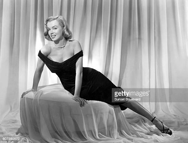 American actress Marilyn Monroe on the set of Asphalt Jungle directed by John Huston