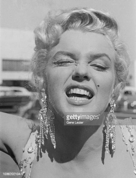 American actress Marilyn Monroe on the set of 'There's No Business Like Show Business' directed by Walter Lang at the 20th Century Fox studios in...