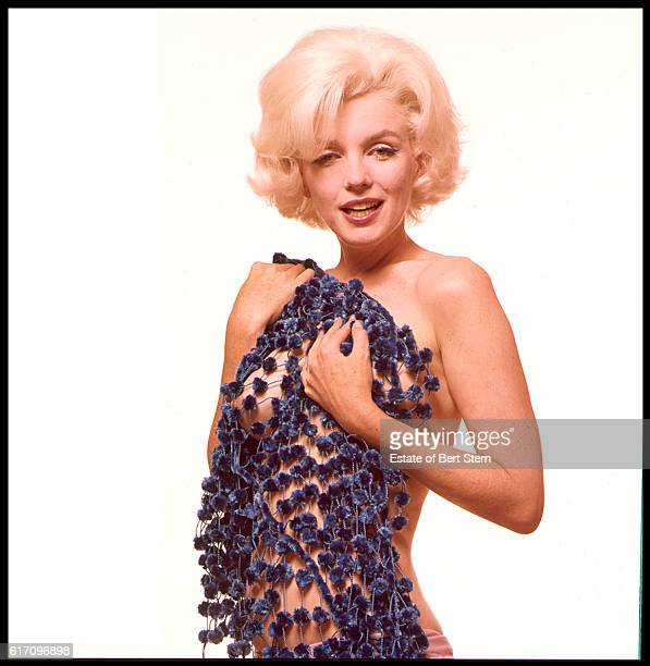 American actress Marilyn Monroe posing naked with a chenille pompom scarf in Beverly Hills California at the end of June 1962 The two sessions for...