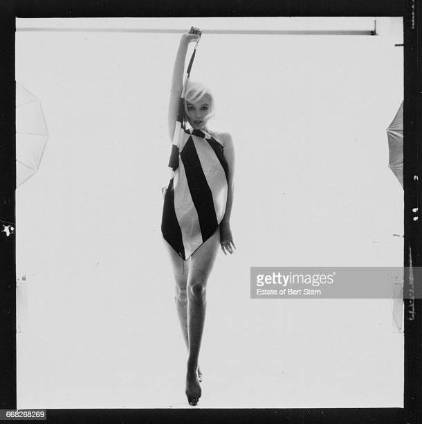 American actress Marilyn Monroe waering a black and whitestriped scarf Beverly Hills California June 1962 The two sessions for the photoshoot took...