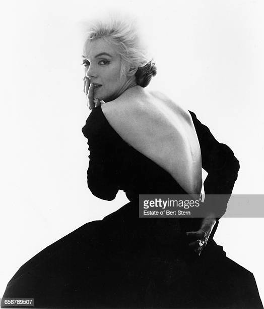 American actress Marilyn Monroe wearing a backless evening dress Beverly Hills California July 1962 The two sessions for the photoshoot took place in...