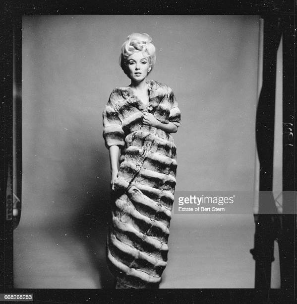 American actress Marilyn Monroe wearing a chinchilla fur coat Beverly Hills California July 1962 The two sessions for the photoshoot took place in...