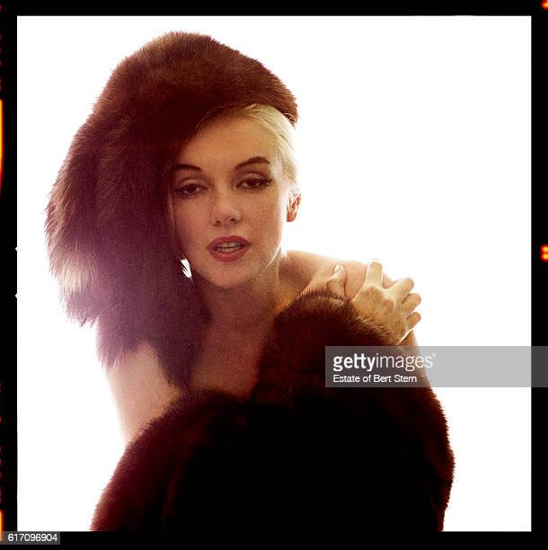 American actress Marilyn Monroe wearing a fur hat and shawl in Beverly Hills California at the end of June 1962 The two sessions for the photoshoot...