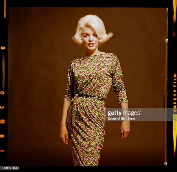 American actress Marilyn Monroe wearing a peacockpatterned Pucci dress Beverly Hills California July 1962 The two sessions for the photoshoot took...