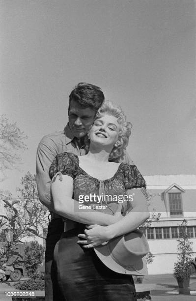 American actress Marilyn Monroe with costar Don Murray during a press call to publicise Joshua Logan's 'Bus Stop' 1956