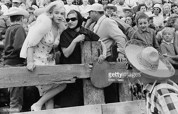 American actress Marilyn Monroe with her acting coach Paula Strasberg during the location shoot of 'The Misfits' in the Nevada Desert 1960 Paula is...