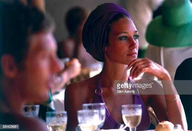American actress Marisa Berenson in Capri 1968