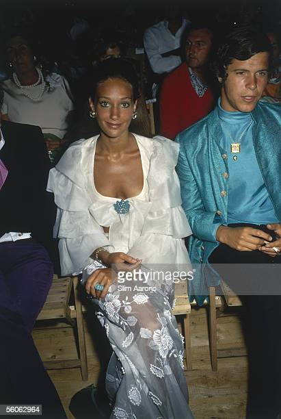 American actress Marisa Berenson with her boyfriend, fashion photographer Arnaud de Rosnay, in Capri, September 1968.