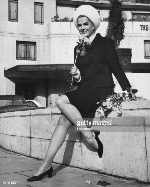 American actress Martha Hyer outside the Dorchester Hotel in London 8th November 1966 She is on her way to Ireland to star in the film 'The House of...