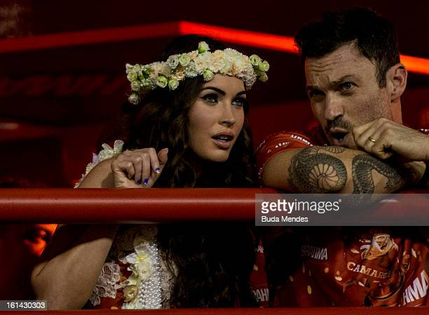 American actress Megan Fox and his husband Bryan Austin Green enjoy Salgueiro samba school parade as part of the 2013 Brazilian Carnival at Sapucaí...