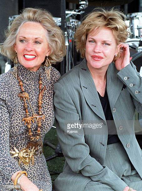 American actress Melanie Griffith with her mother actress Tippi Hedren during 'Artists for Shambala' Animal Preservation Benefit October 30 1994 in...