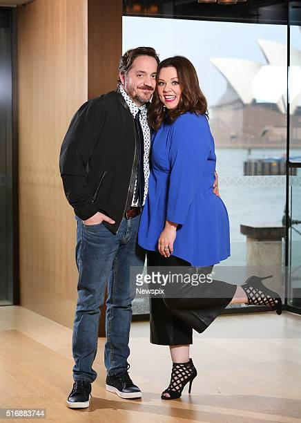 American actress Melissa McCarthy and her husband director Ben Falcone pose during a photo shoot at the Park Hyatt Hotel in Sydney New South Wales...